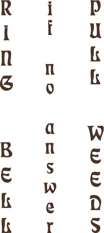 vertical lettering